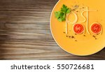 word pasta made of cooked... | Shutterstock . vector #550726681