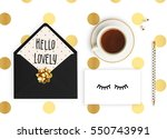flat lay. white background ... | Shutterstock . vector #550743991