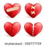 broken hearts vector set of 3d... | Shutterstock .eps vector #550777759