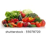 composition with raw vegetables | Shutterstock . vector #55078720