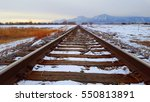 Winter Train Tracks And Boulder ...