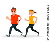 man and woman in sportswear... | Shutterstock .eps vector #550814311