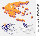 greece flags on map element and ... | Shutterstock .eps vector #550842949