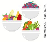 vegetable bowl. fruit bowl.... | Shutterstock .eps vector #550846021