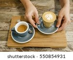 piccolo latte and a shot of... | Shutterstock . vector #550854931