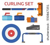 winter curling sport equipment... | Shutterstock .eps vector #550867351