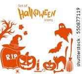 set of halloween icons.... | Shutterstock . vector #550877119