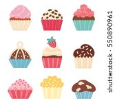 icons cupcake  flat style.... | Shutterstock .eps vector #550890961