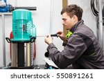 young electrician  repairs... | Shutterstock . vector #550891261