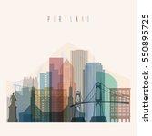 transparent style portland... | Shutterstock .eps vector #550895725