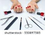 nail care. closeup of beautiful ... | Shutterstock . vector #550897585