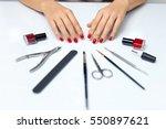 nail care. closeup of beautiful ... | Shutterstock . vector #550897621