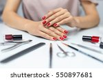 nail care. closeup of beautiful ... | Shutterstock . vector #550897681