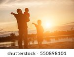 father took the baby learn to... | Shutterstock . vector #550898101
