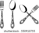 elegant fork and spoon with... | Shutterstock .eps vector #550910755