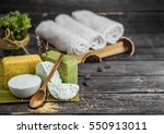 spa still life of tools to... | Shutterstock . vector #550913011
