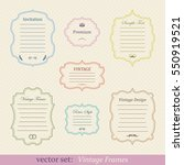 vector set of vintage frames | Shutterstock .eps vector #550919521