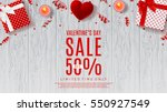 Valentine's Day sale background. Top view on composition with gift box, case for ring, candles and confetti. Vector illustration with serpentine on wooden texture. | Shutterstock vector #550927549