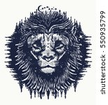 lion in the night sky tattoo.... | Shutterstock .eps vector #550935799