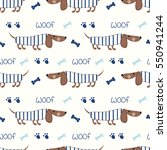 Stock vector seamless pattern with cute dogs and bones for kids design scrapbook paper wrapping paper 550941244