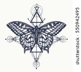 butterfly tattoo  geometrical... | Shutterstock .eps vector #550942495