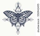 Stock vector butterfly tattoo geometrical style beautiful swallowtail boho t shirt design mystical symbol of 550942495