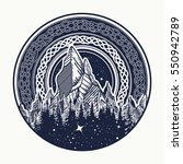 Mountains in the circle tattoo, celtic style. Great outdoors. Symbol of adventure tourism, meditation. Nature Mountain tattoo and t-shirt design tribal vector illustration | Shutterstock vector #550942789