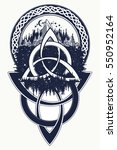 celtic knot tattoo. mountain ... | Shutterstock .eps vector #550952164