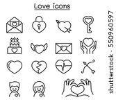 love icons set in thin line...