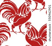 pattern with colorful rooster.... | Shutterstock .eps vector #550962901