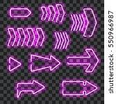 set of glowing purple neon...   Shutterstock .eps vector #550966987