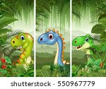 set of dinosaur with tropical... | Shutterstock .eps vector #550967779