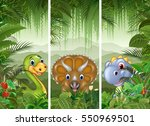 set of dinosaur with tropical...   Shutterstock .eps vector #550969501