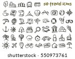 vector doodle travel icons set. ... | Shutterstock .eps vector #550973761