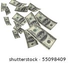 falling money isolated on white | Shutterstock . vector #55098409