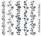 rose tattoo border pattern.... | Shutterstock .eps vector #551011861