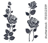 rose tattoo. silhouette of... | Shutterstock .eps vector #551012359