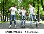 three young people go for a... | Shutterstock . vector #55101361
