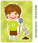 eco friendly boy plant a tree | Shutterstock .eps vector #55101568