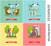set of family and housewife... | Shutterstock . vector #551045635