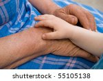 hands of the old woman and child   Shutterstock . vector #55105138