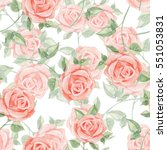 romantic roses. seamless floral ... | Shutterstock . vector #551053831
