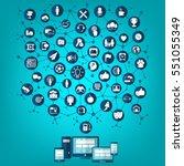 social network | Shutterstock .eps vector #551055349
