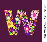 letter of beautiful flowers w   Shutterstock .eps vector #551070331