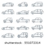 car icons in the linear style.... | Shutterstock .eps vector #551072314