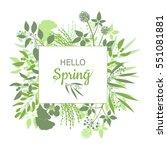 hello spring green card design... | Shutterstock .eps vector #551081881