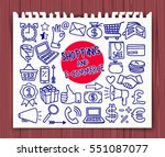 doodle shopping ecommerce icons ... | Shutterstock .eps vector #551087077