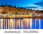 scenic summer evening panorama... | Shutterstock . vector #551100961