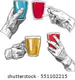 hands with glasses in engraving ... | Shutterstock .eps vector #551102215