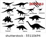dinosaurs silhouettes | Shutterstock .eps vector #55110694